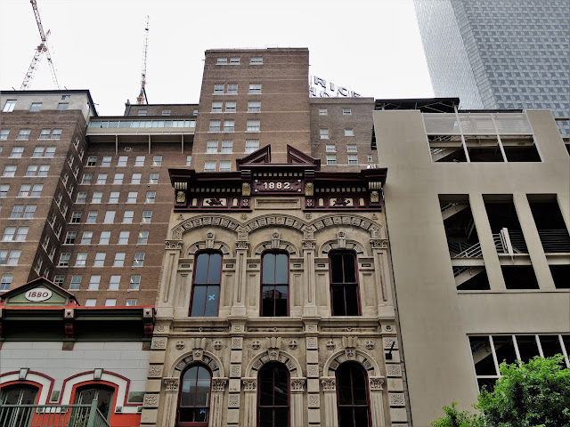 Facade of historic Brashear Building on Prairie Street in Houston's Historic District