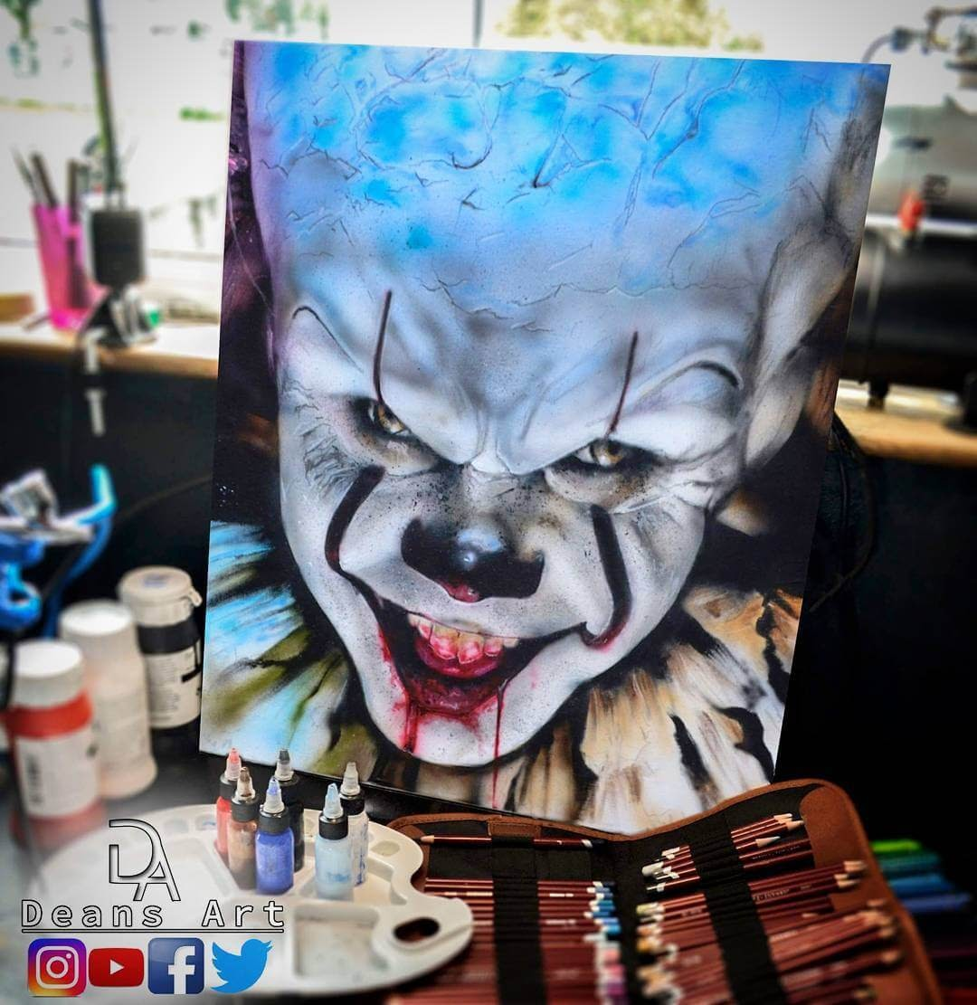 15-Pennywise-It-Dean-McCann-Superheroes-Villains-Monsters-and-Robot-Drawings-www-designstack-co