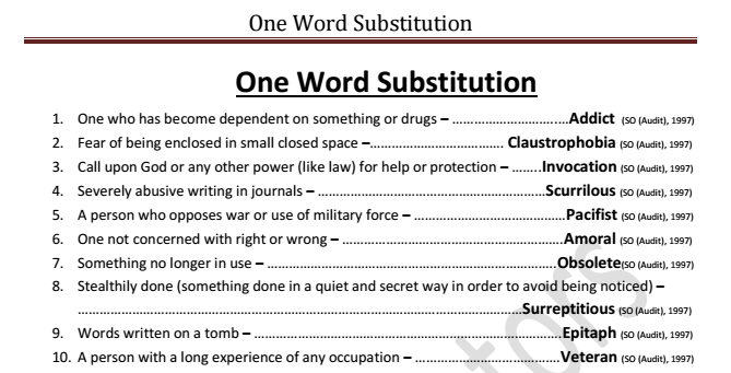 name of file list of one word substitution asked in ssc exams till date
