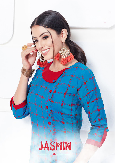 Jasmin Krisha (Rayon) Kurti Wholesale Catalog 5 Pcs