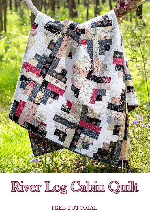River Log Cabin Quilt Free Tutorial designed by Jenny of Missouri Quilt Co