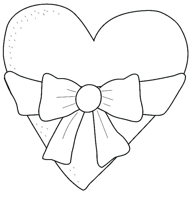 Click to see printable version of Heart With Bow Coloring page