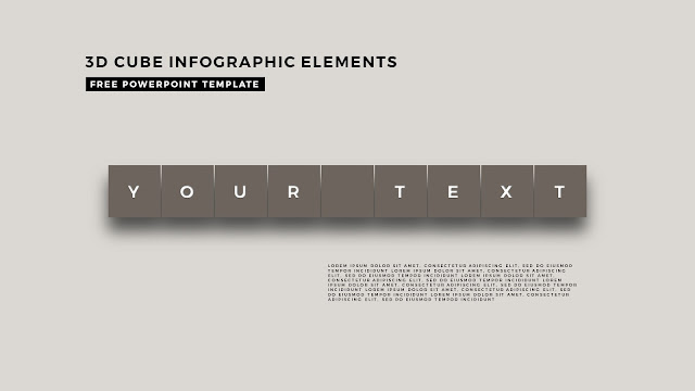 3D Cube Infographic Elements for Free PowerPoint Template Design Slide 3