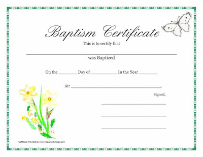 Sample Baptism Certificate Templates  Sample Certificate