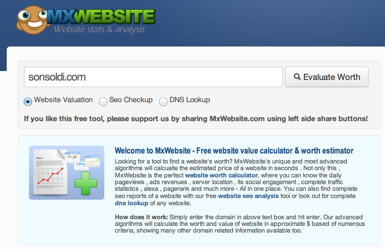 Quanto vale il tuo sito? Scoprilo con MxWebsite