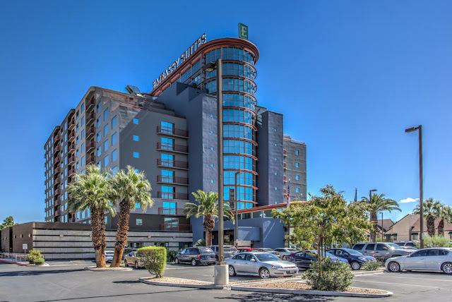 The non-gaming Embassy Suites by Hilton Convention Center Las Vegas hotel is steps away from the Las Vegas Convention Center and monorail and is near a variety of popular tourist attractions including the Las Vegas strip.