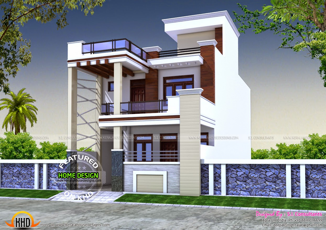 24x55 house plan kerala home design and floor plans for Indian homes front design