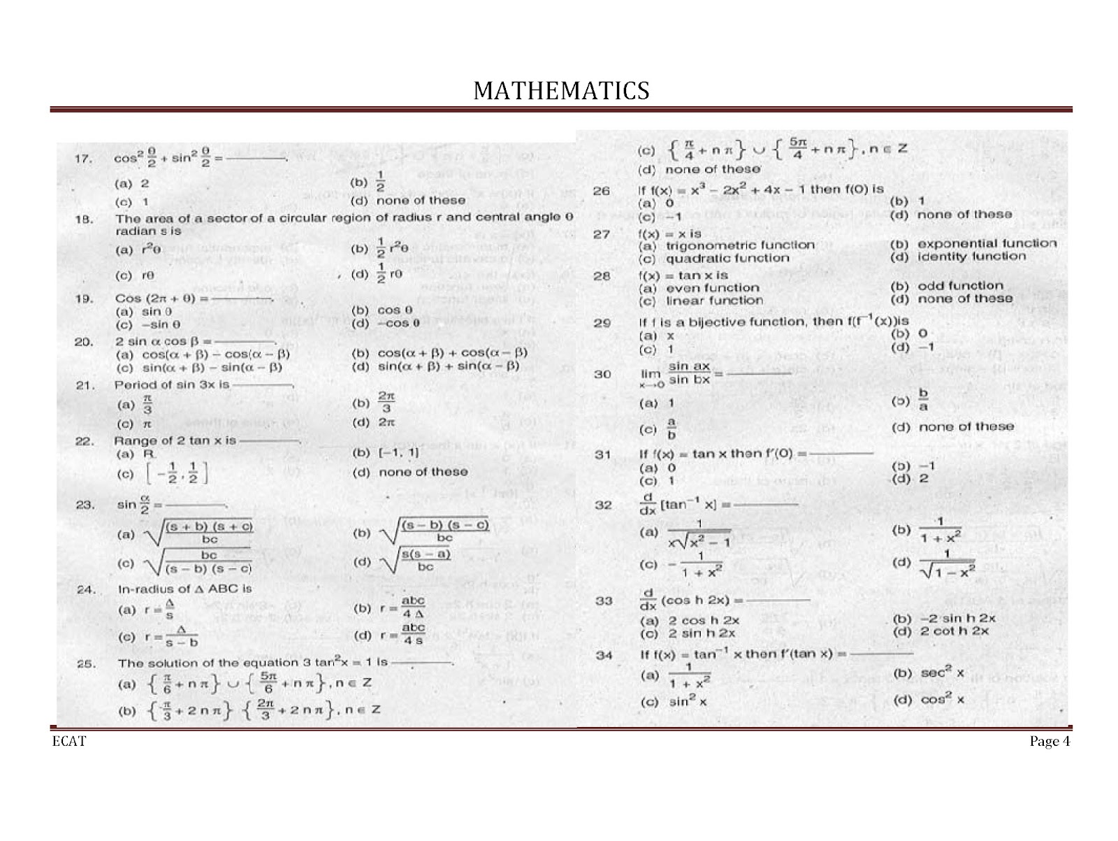 Edexcel maths unit 3 specimen terminal paper mark scheme