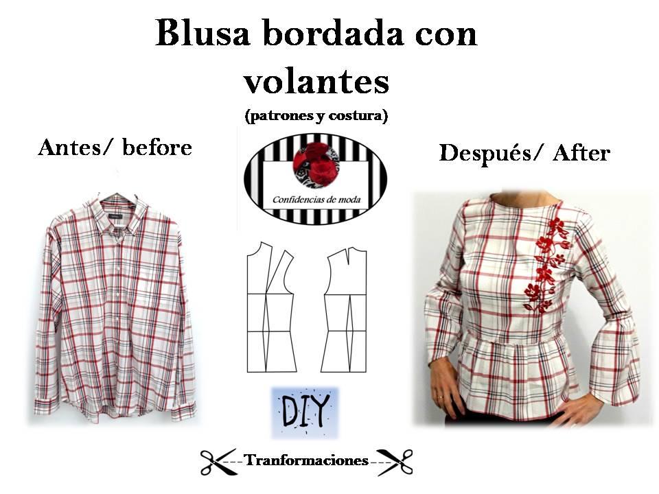 Blusa bordada con volantes. DIY (patrones y costura). Transformaciones