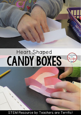 STEM Challenge for Valentine's Day: Make a candy box that will hold a specific amount of candy! Check the blog post for more!