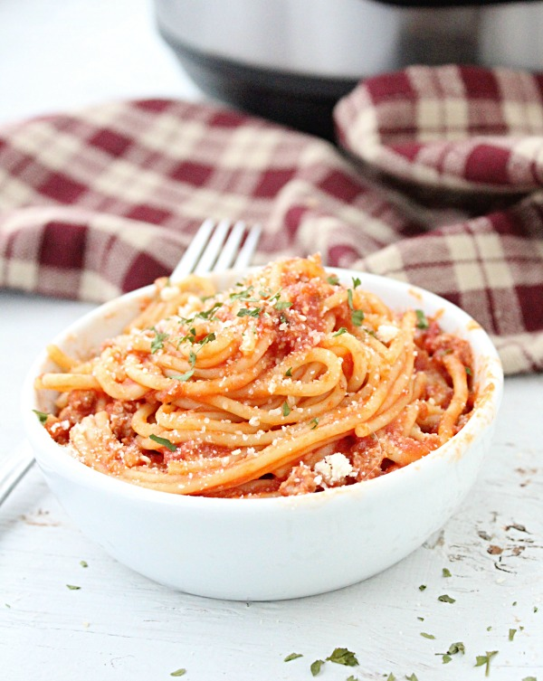 Instant Pot Spaghetti and Meat Sauce  from Table for Seven