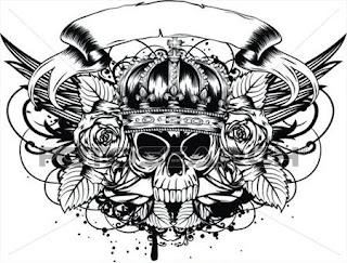 тату череп +с розами