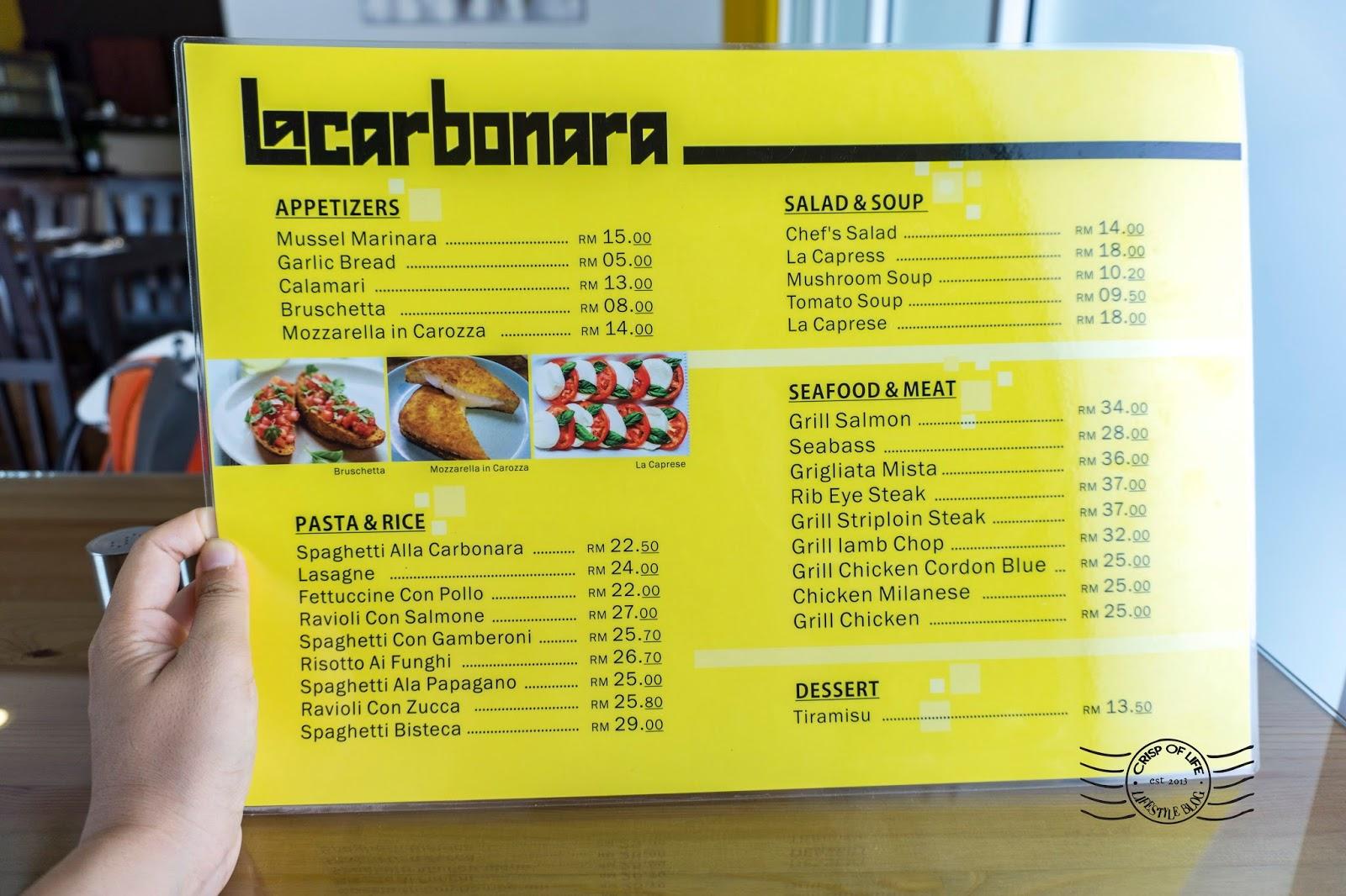 Lacarbonara Italian & Western Cuisine @ Arena Curve, Bayan Lepas, Penang