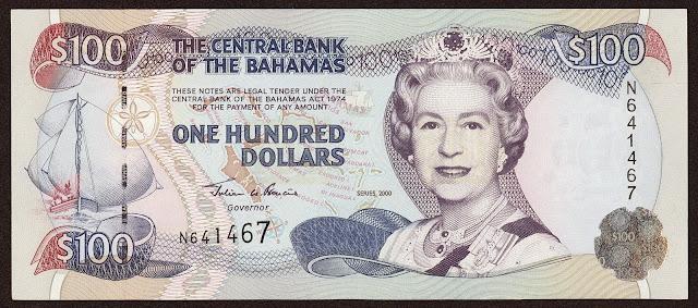 Bahamas Banknotes 100 Dollars banknote 2000 Queen Elizabeth II