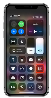 Cara manual memindai kode QR dengan iPhone atau iPad melalui shortcut Control Center