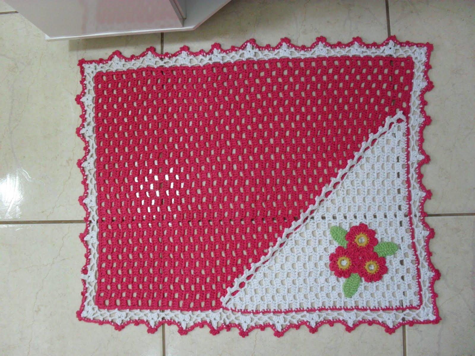 Jogo De Banheiro Verde E Branco : Croch? fasc?nio jogo de banheiro pink e branco