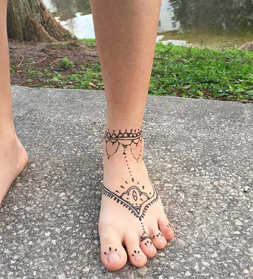 ankle henna tattoo ayak bileği kına dövmesi