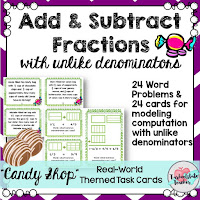 fractions task cards for 4th 5th grade