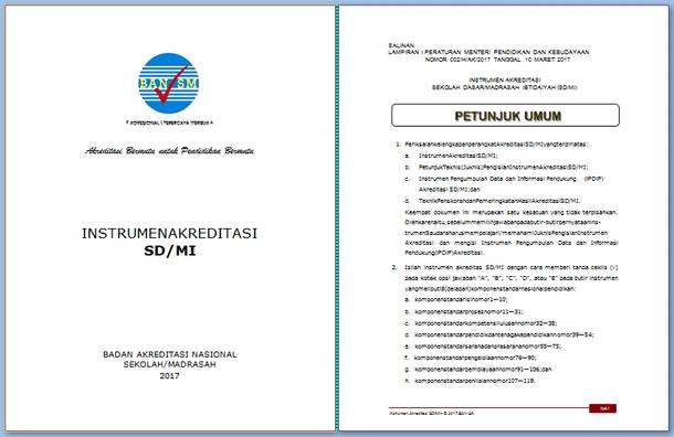 Instrumen dan Perangkat Akreditasi SD-MI 2017 Format Microsoft Word