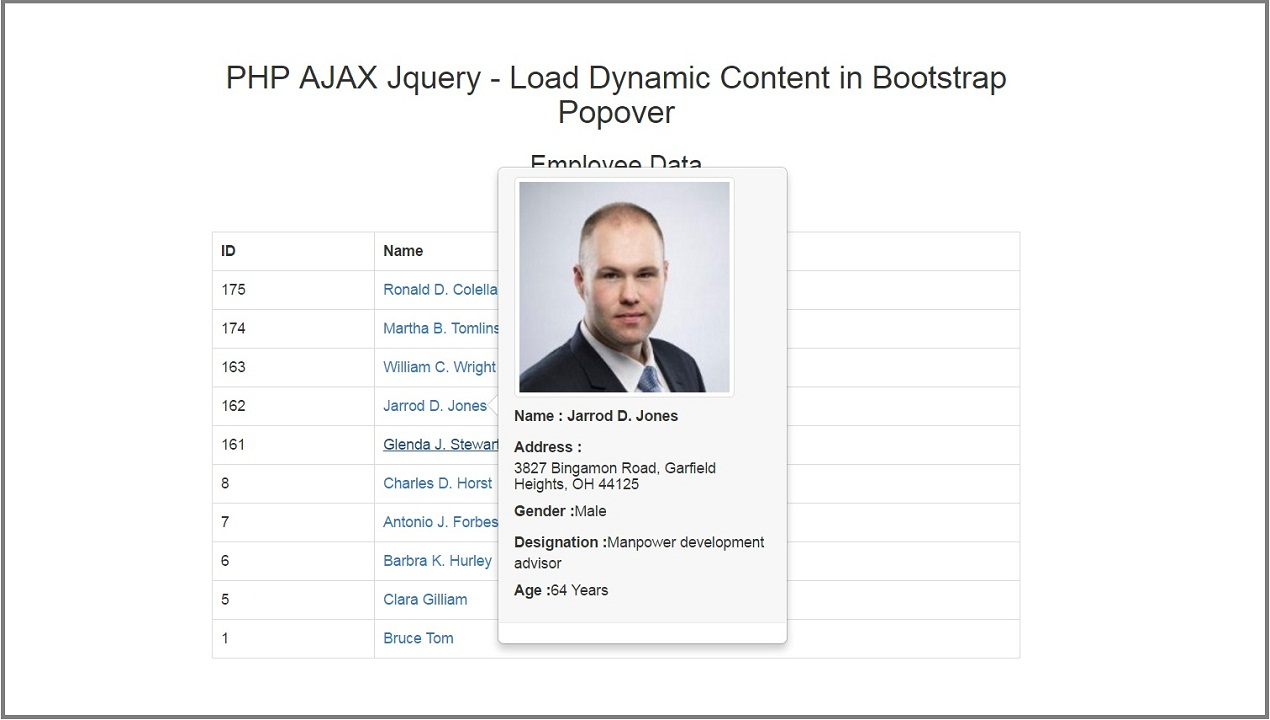 Php Ajax Jquery Load Dynamic Content In Bootstrap Popover Webslesson