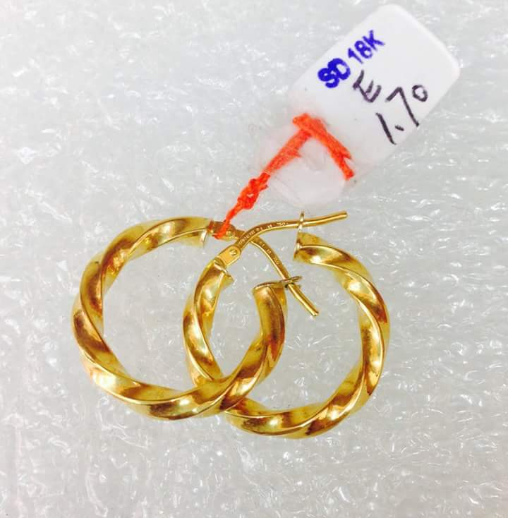 Cebu Gold Jewelry Saudi Gold Hoop Earrings 170