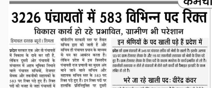 पंचायतों में 583 पद खाली 345 पदों पर भर्ती जल्दी
