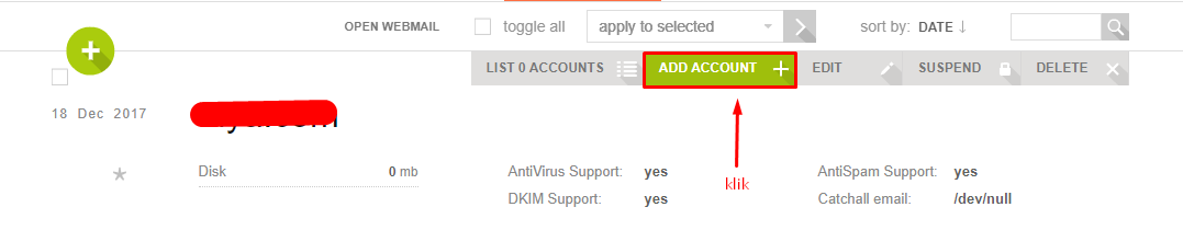 Click Add Account New Email VestaCP