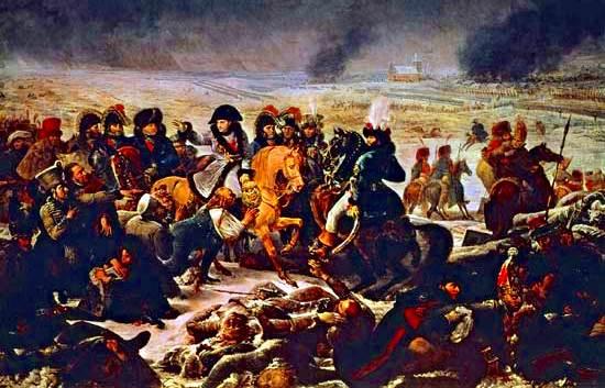 Napoleon en el campo de batalla en Eylau, febrero de 1807