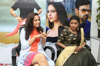 Actress Suma in Black Salwar Suit and Anusuya in orange Dress at winner movie press meet part 2 February 2017 (1).JPG