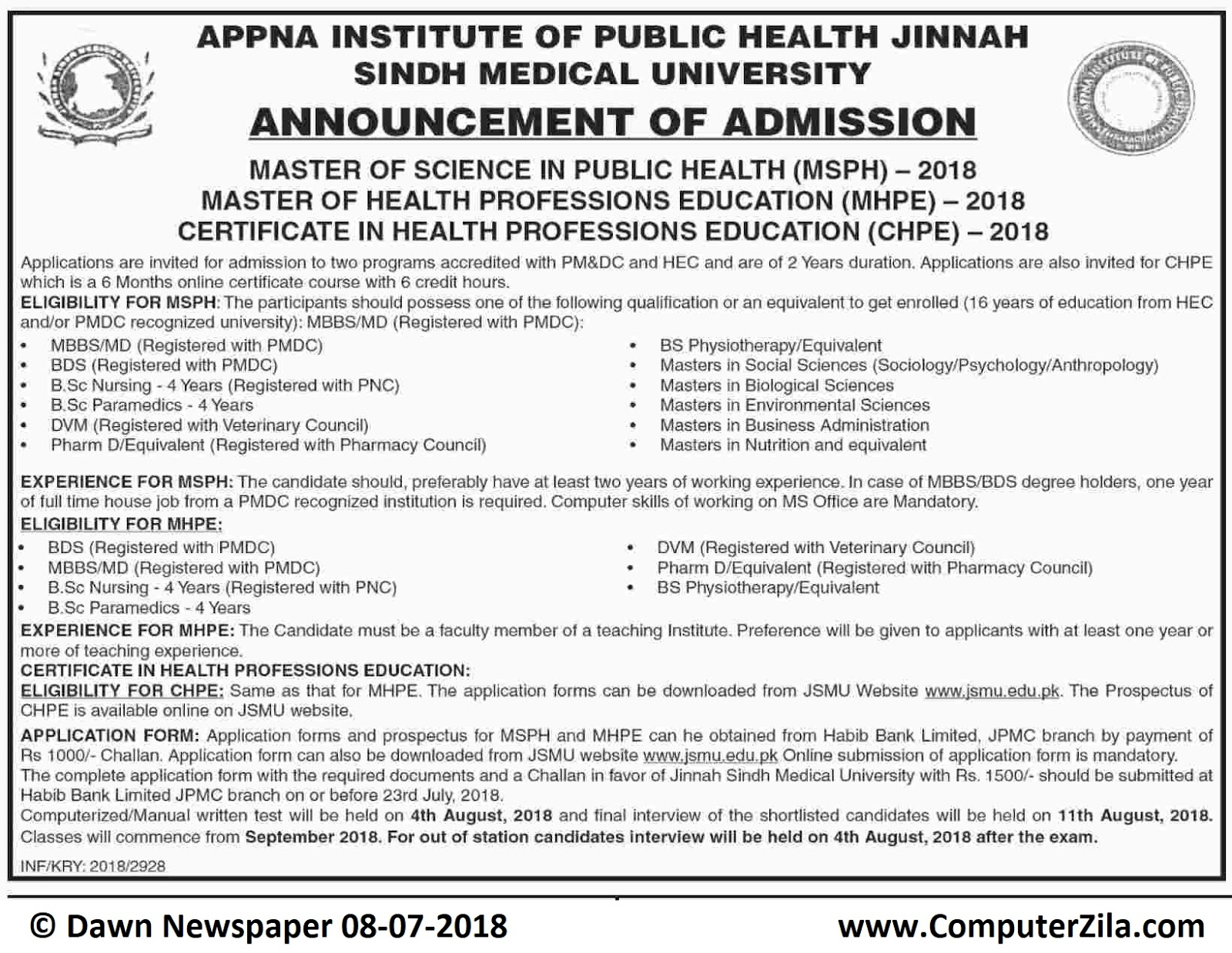 APPNA Institute of Public Health Jinnah Sindh Medical University Admissions Fall 2018