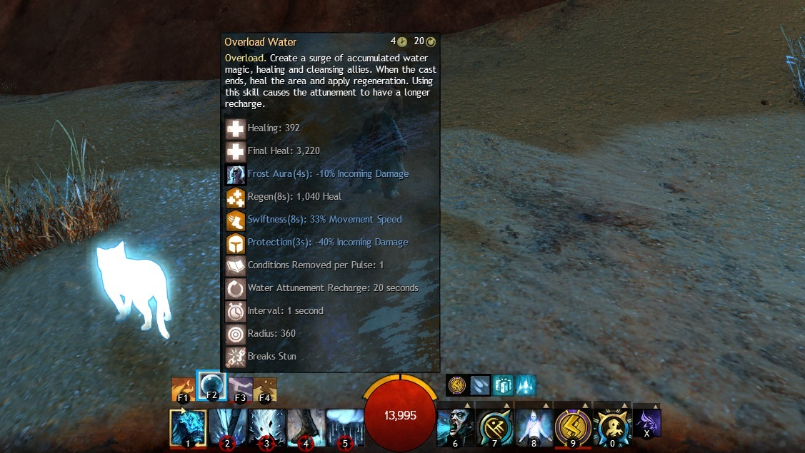 The Deceptively Simple Center Screen As Seen By My Elementalist In GW2 Compared To EQ Or EQ2 Theres Far Less Clutter But Pop Up Tool Tip Shows