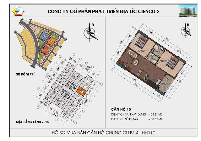 Sơ đồ căn hộ 10 chung cư Thanh Hà Cienco 5 tòa HH01C căn 10
