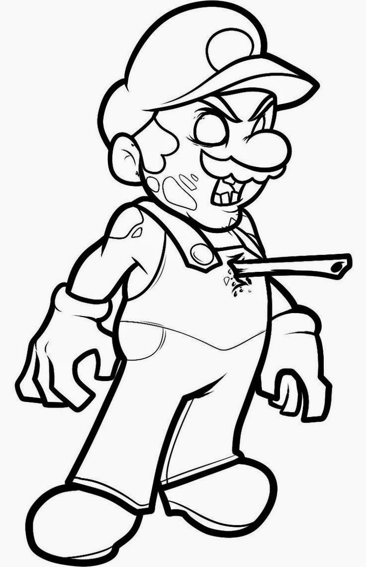 Mario Zombie Halloween Coloring Pages
