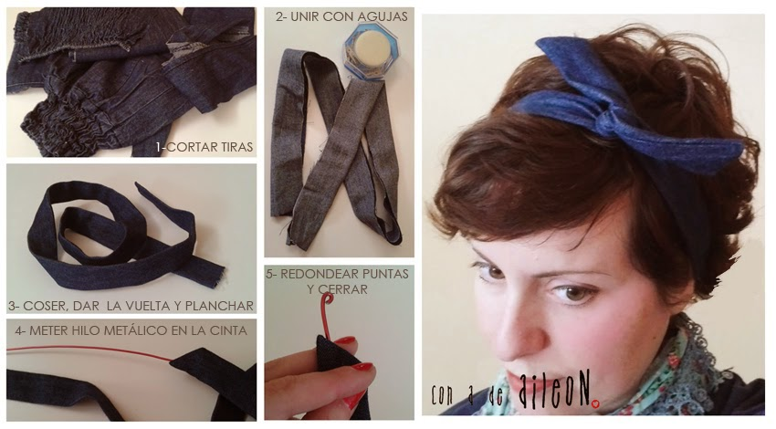 cinta-del-pelo look-lolita-pinup pinup lolita diy-aileon jeans denim recycle
