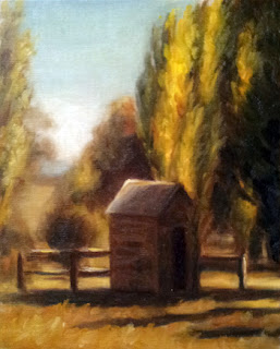 Oil painting of a small outhouse surrounded by poplar trees and a fence.