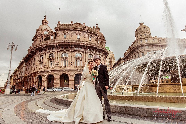 foto sposi piazza de Ferrari Genova
