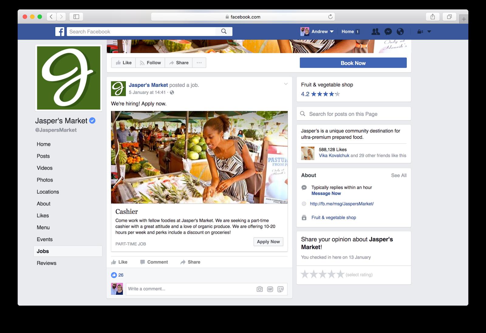 Una oferta ficticia de empleo en Facebook. FOTO: Facebook