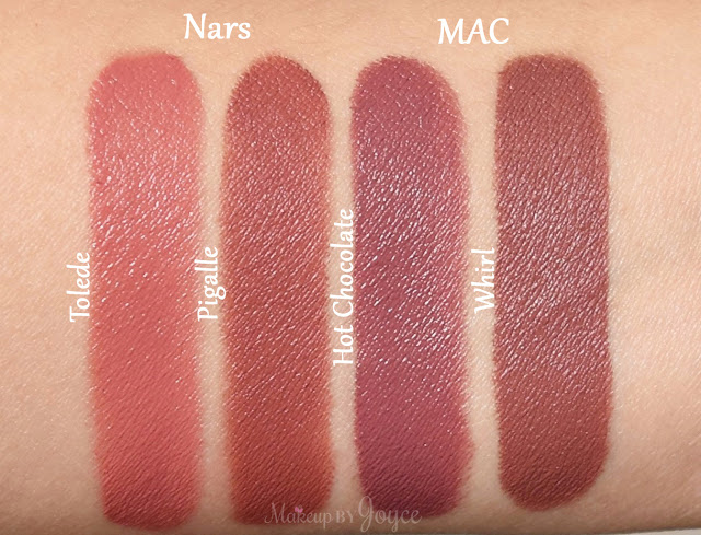 Mac Brooke Candy Whirl Lipstick Nars Pigalle Tolede Swatches