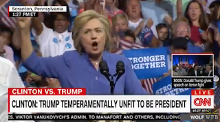 Clinton Slips While Stepping Down From Podium After Introducing Biden