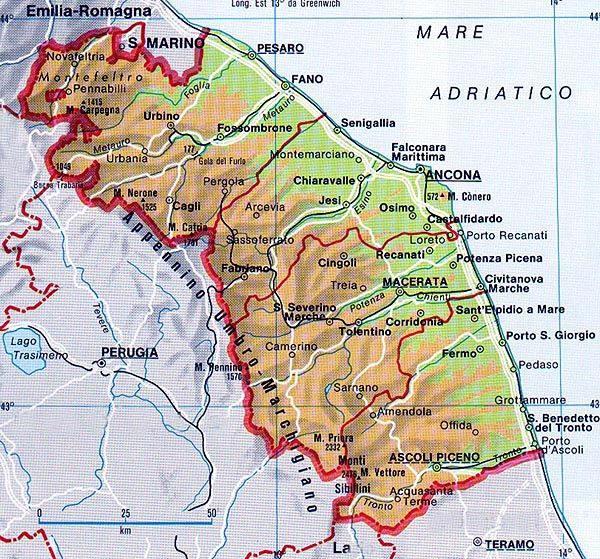 cartina della regione Marche