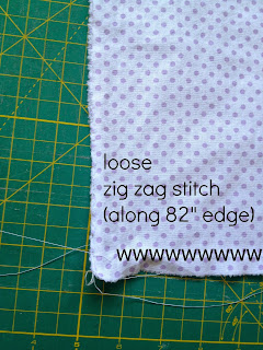 loose zig zag stitch to create gather