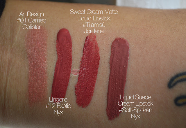 Swatches comparativi art design cameo di collistar, sweet cream matte tiramisù di jordana, liquid suede soft spoken e exotic lip lingerie di nyx