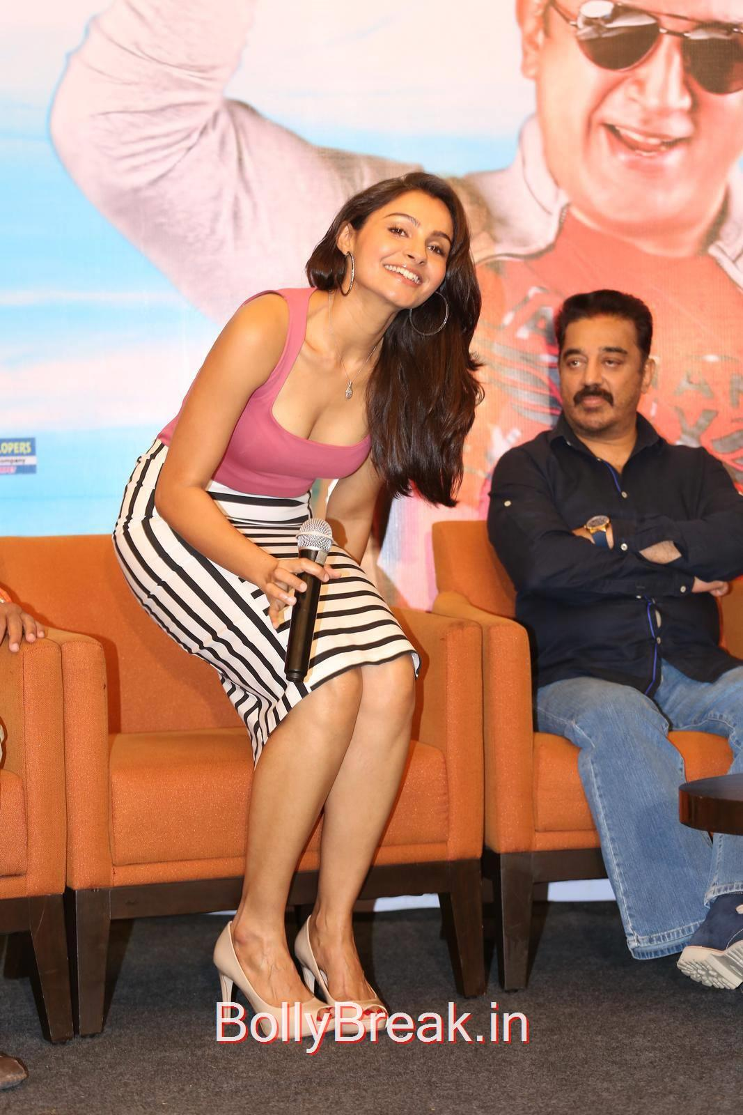 Kamal Hassan-Uttama Villain Film Press Meet Pics, Hot HD Images of Andrea Jeremiah Pooja Kumar From Uttama Villain Movie Release Date Press Meet