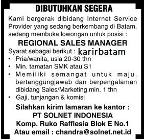 Lowongan Kerja PT. Solnet Indonesia