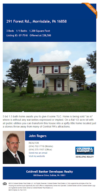 John Rogers Coldwell Banker Developac Realty 291 Forest Road Morrisdale Pa Wilds Clearfield County for Sale