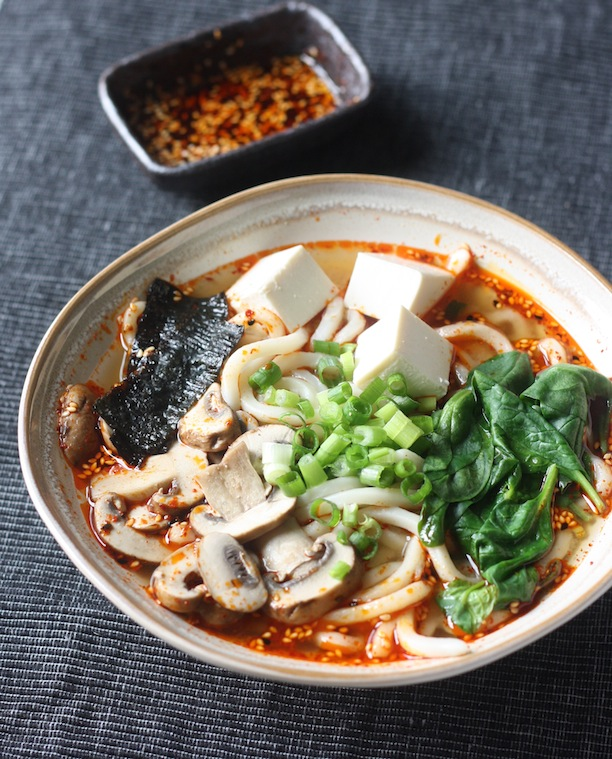 Miso Udon Noodle Soup with Spicy Korean Chili Dressing