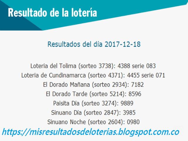 Como jugo la lotería anoche   Resultados diarios de la lotería y el chance   resultados del dia 18-12-2017