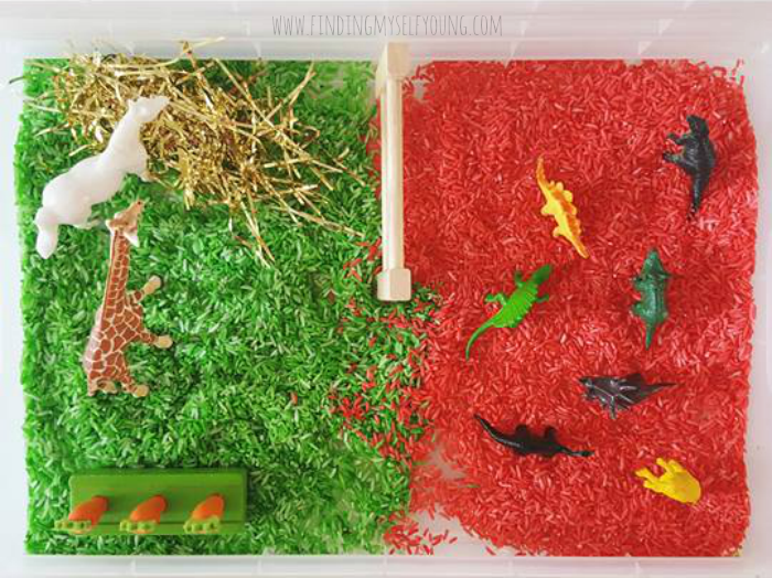 Peppermint scented sensory rice in farm animal + dinosaur sensory tub.