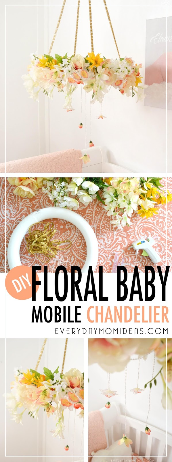 Diy floral baby mobil chandelier full tutorial everyday mom ideas please share this pinterest friendly image below with your friends and family on pinterest or save it to use later when you make your own flower baby mobil arubaitofo Gallery