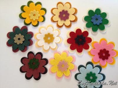 keçeden çiçek kalıpları